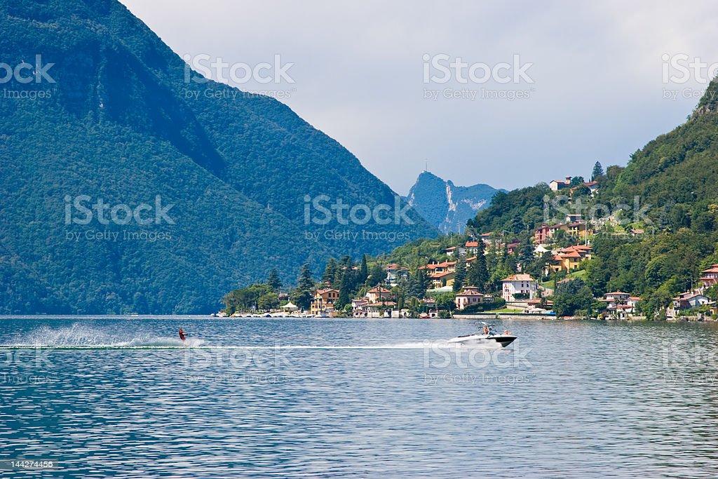 Water ski on Lago Lugano stock photo