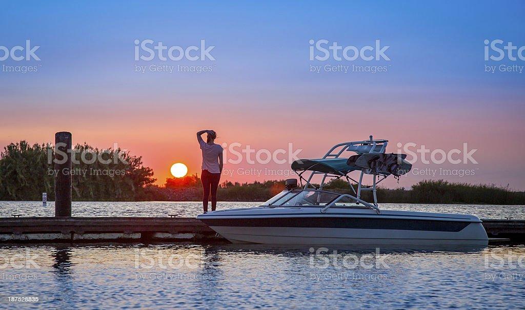 Water Ski Sunset stock photo