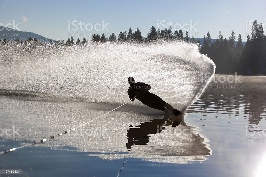 Water skiier cutting it up royalty-free stock photo