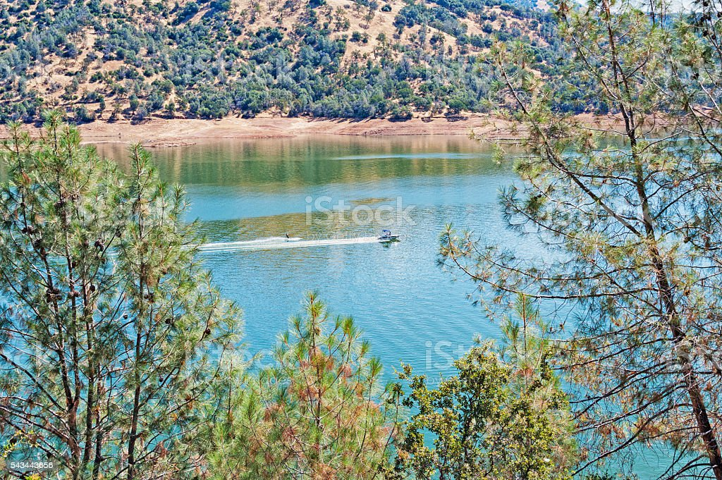 Water Sking from above Don Pedro Lake stock photo