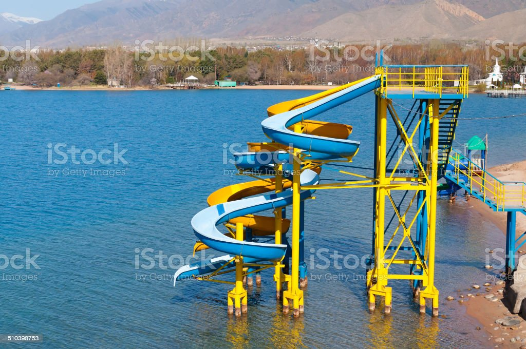 Water slide on the beach stock photo