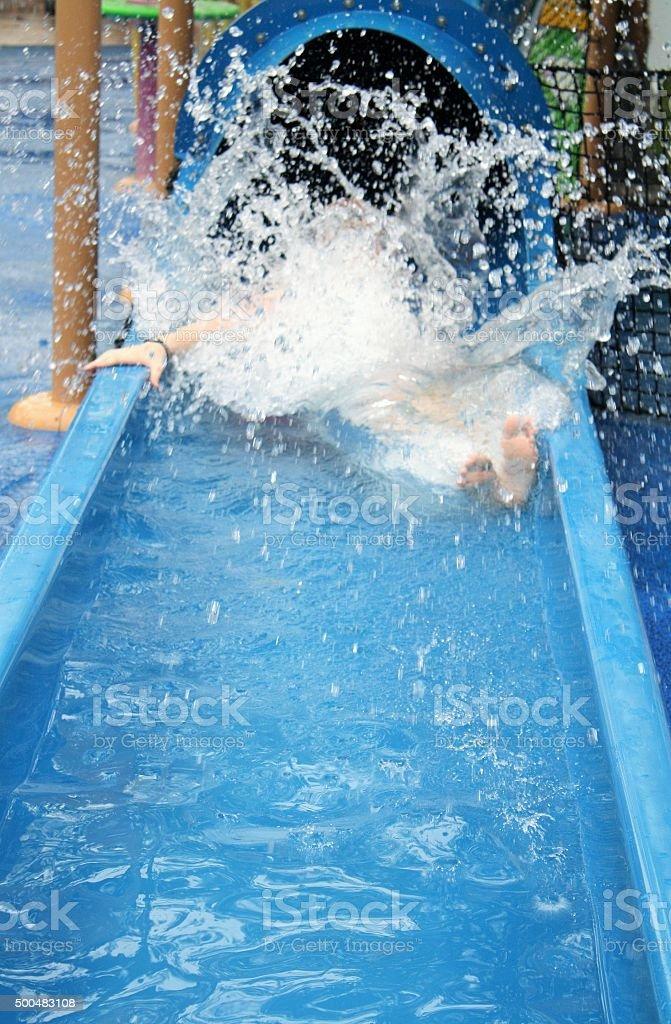 Water slide splash stock photo