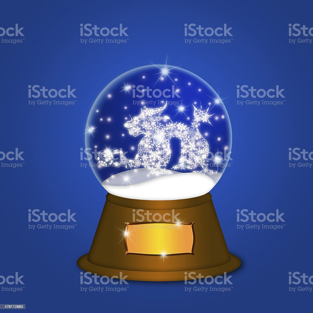 Water Snow Globe with Chinese Dragon Blue vector art illustration