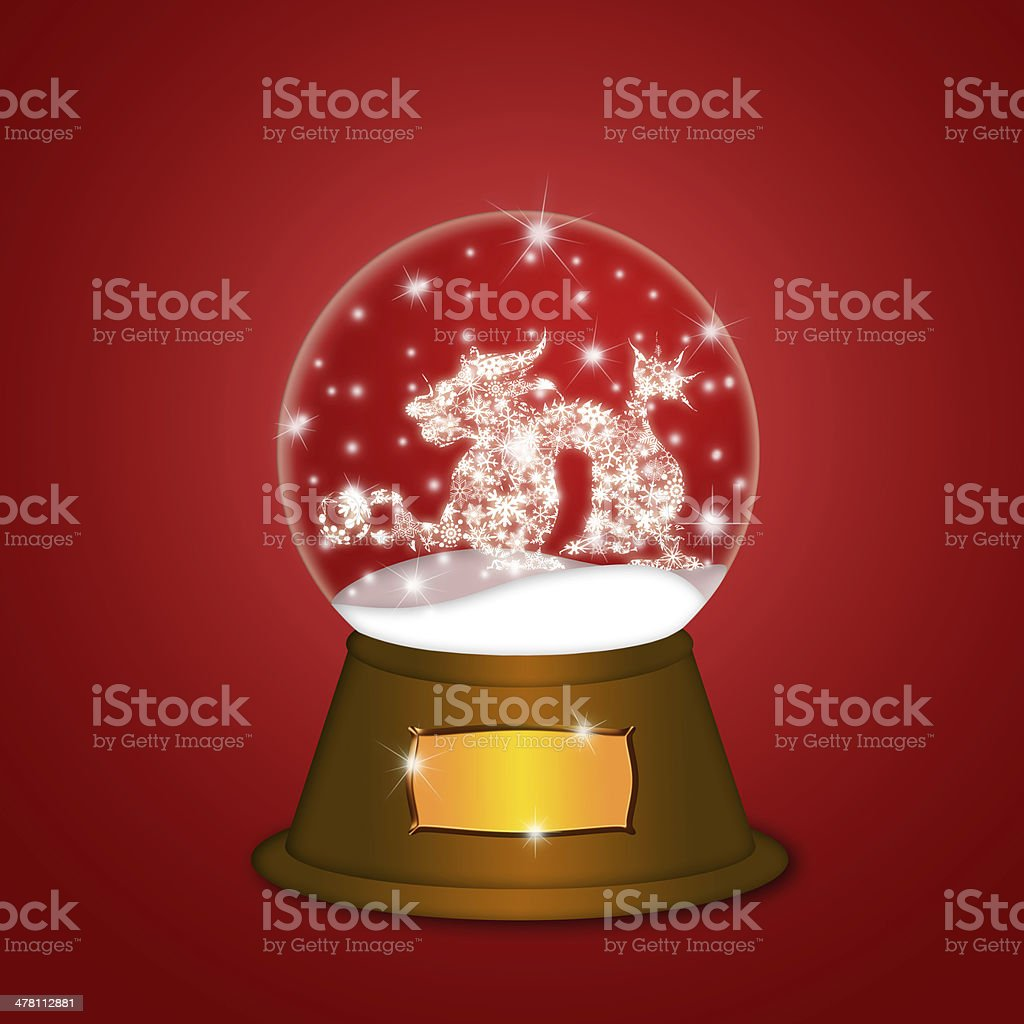 Water Snow Globe with Chinese Dragon Red vector art illustration