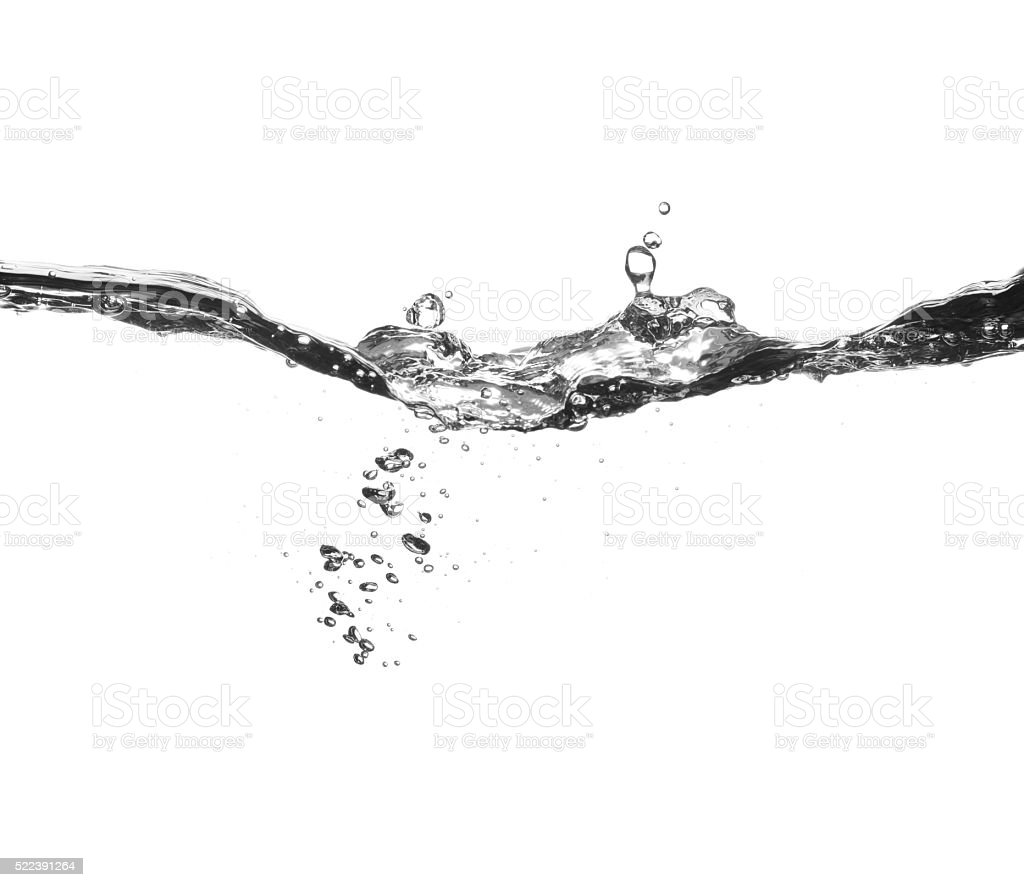 Water splash and bubbles on white background stock photo