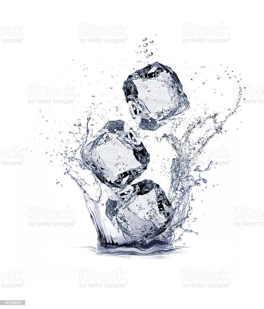 water splash and ice cube stock photo