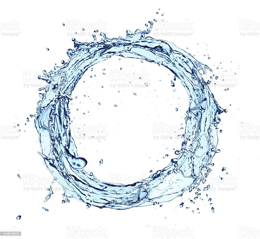 Water splash circle isolated on white background stock photo