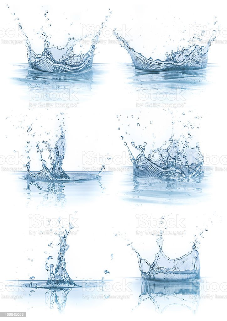water splash collection stock photo