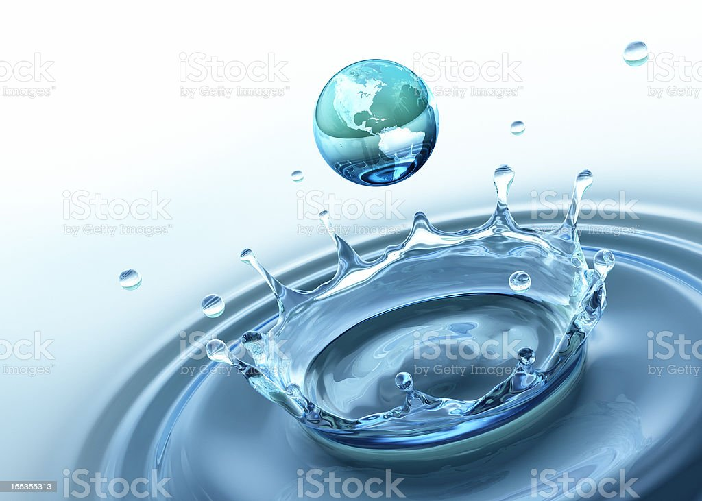 Water splash. Earth royalty-free stock photo