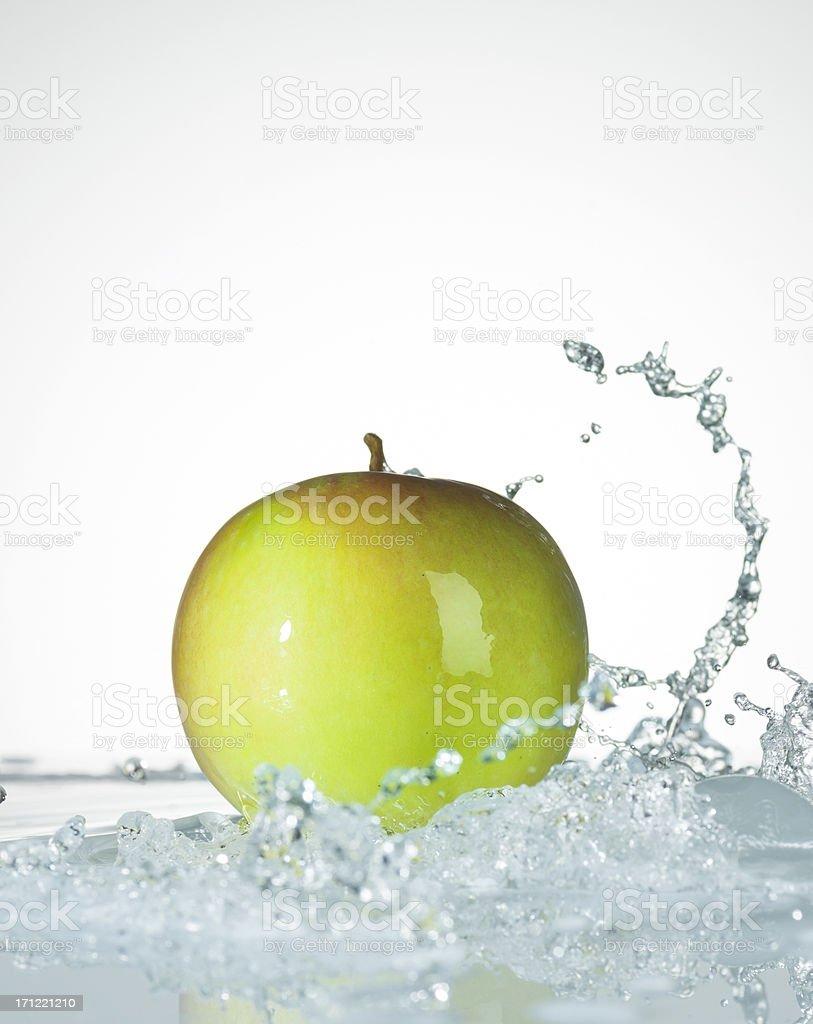 Water Splash. Fresh Apple. stock photo