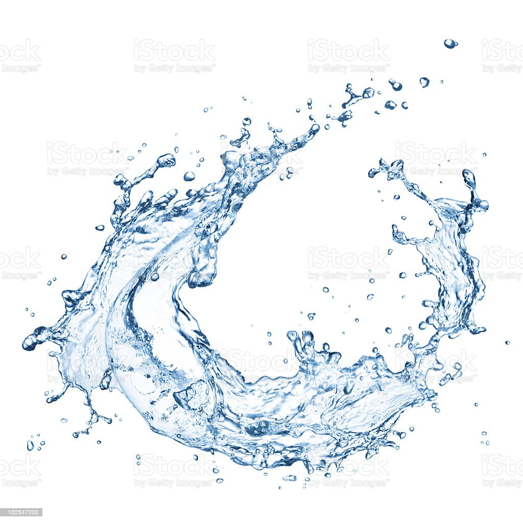 Water splash in circular motion on white background stock photo