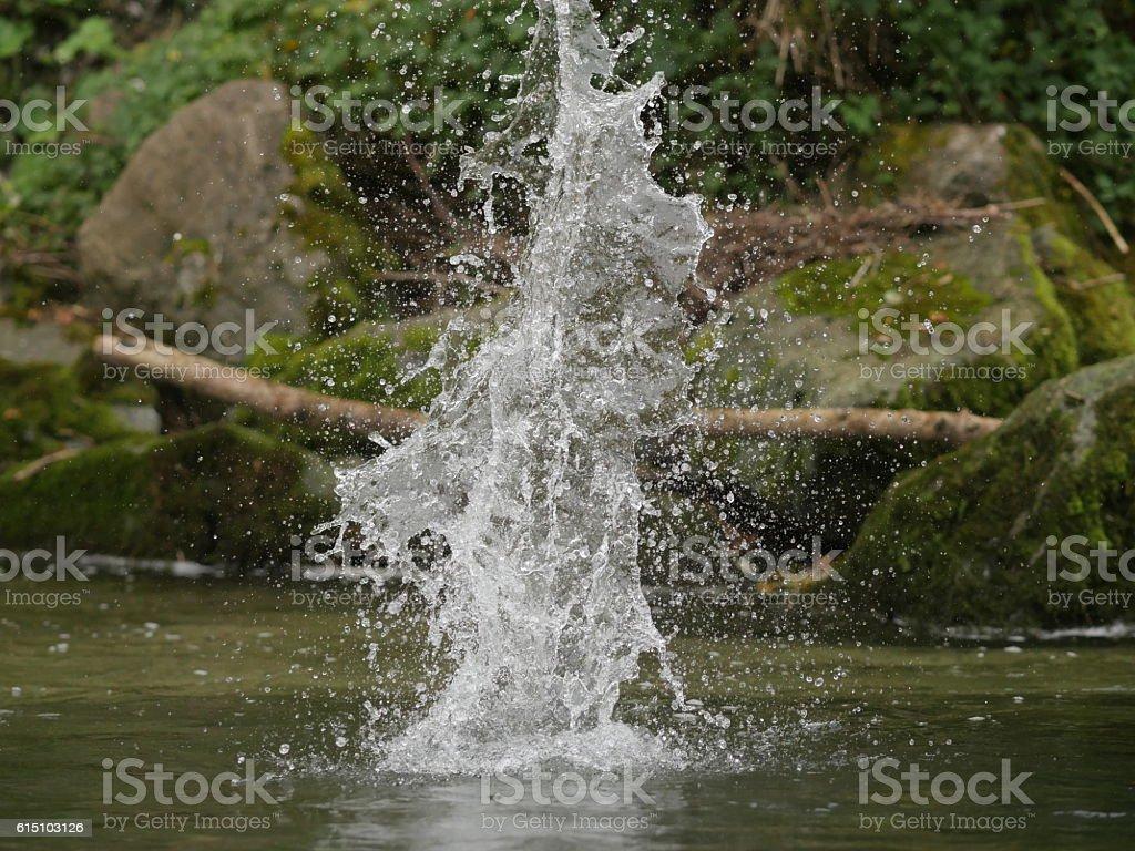 Water splash in natural basin stock photo