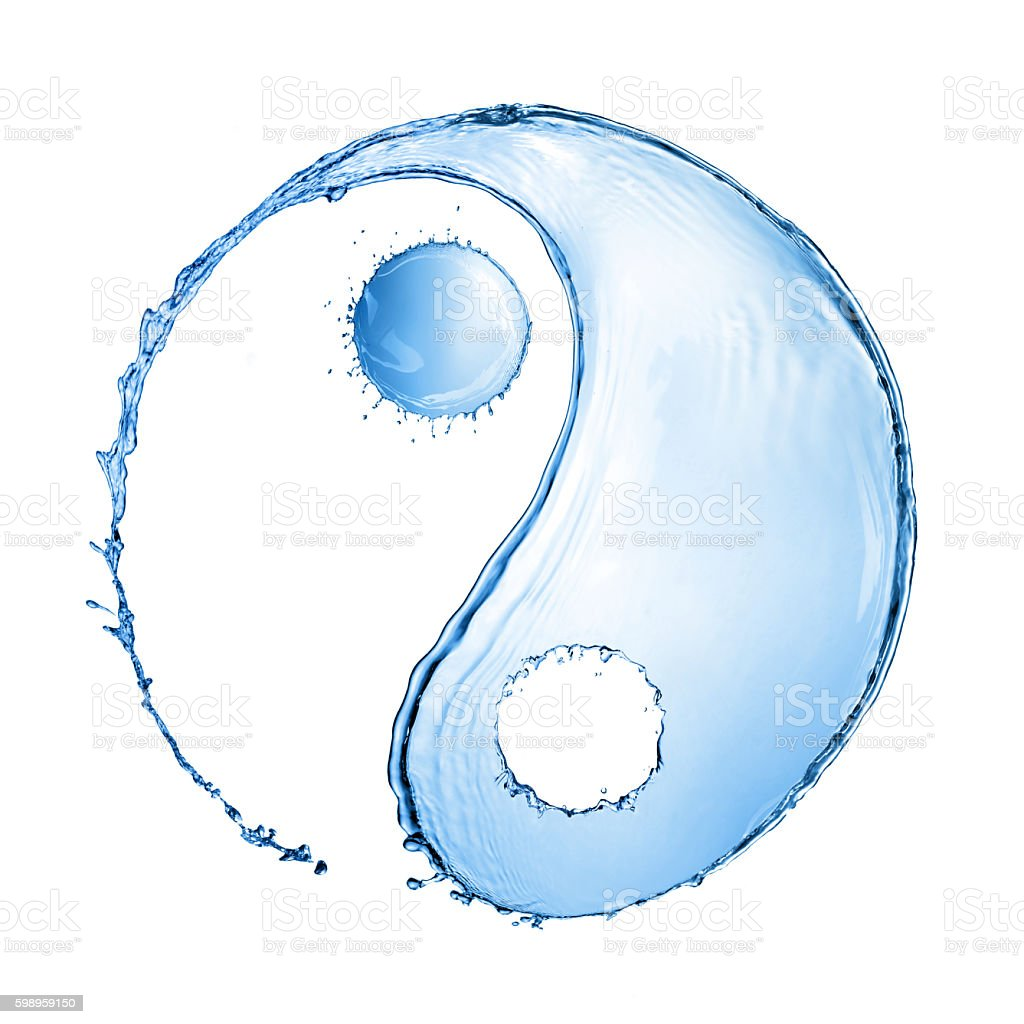 water splash in shape of Yin Yang sign stock photo