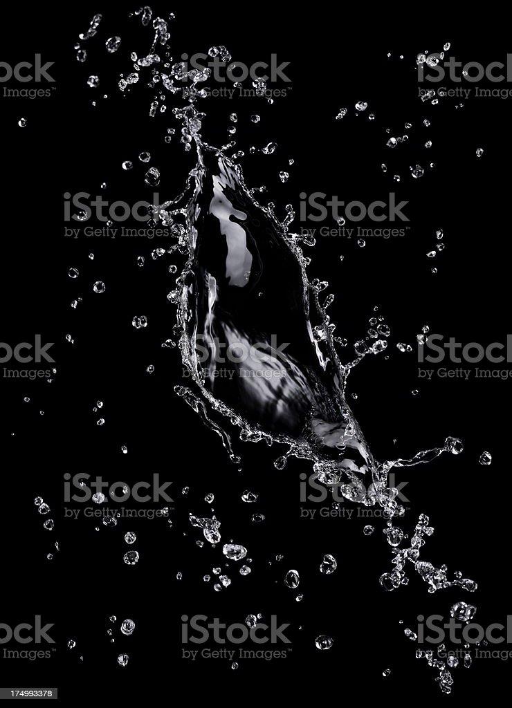 Water Splash On Black royalty-free stock photo