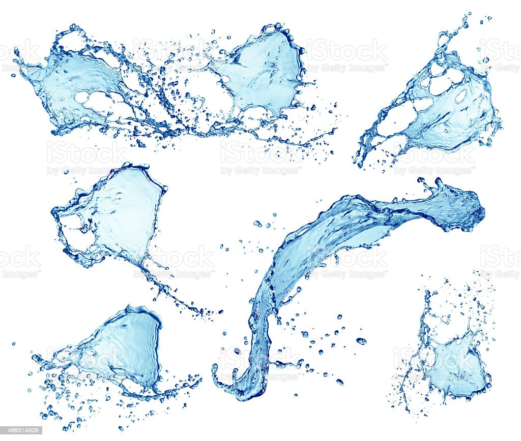 water splashes collection isolated on white background vector art illustration