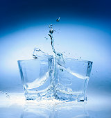 Water splashes in a glass with ice