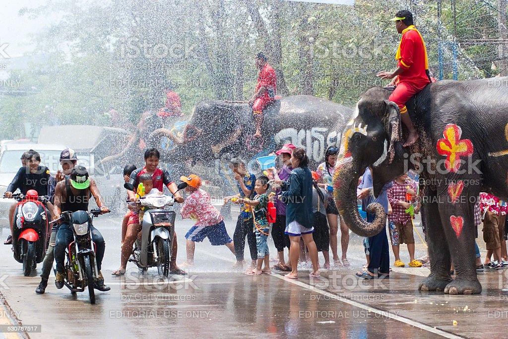 Water Splashing Festival in Thailand stock photo