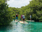 Water sport in Mexican Sinkhole (Cenote), Mexico