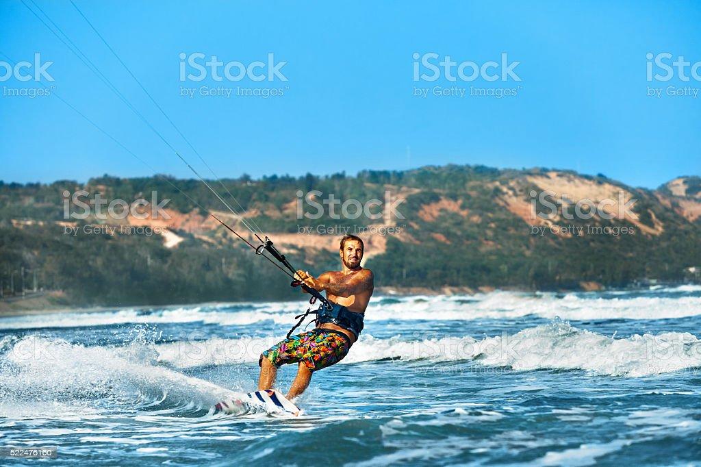 Water Sports. Kiteboarding, Kitesurfing. Surfer Man Surfing On Waves...