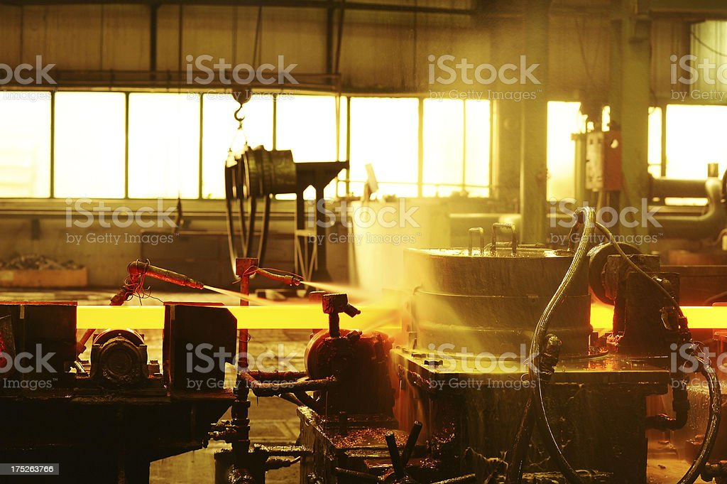 Water sprinklers for cooling steel royalty-free stock photo