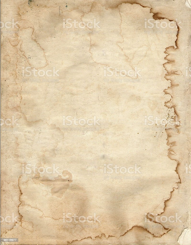water stained vintage paper stock photo