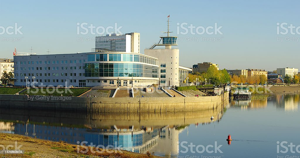 water station on Irtysh.Omsk.Russia. stock photo