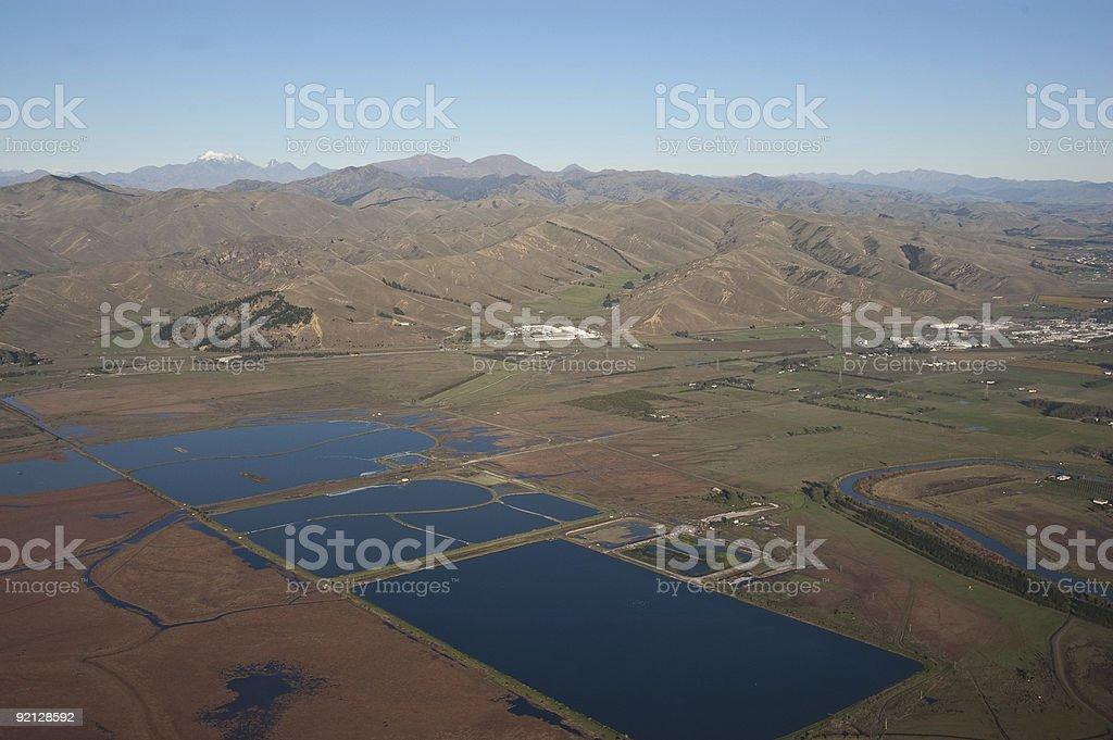 Water Storage Ponds Near Blenheim, NZ royalty-free stock photo