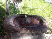 Water streaming from drinking fountain