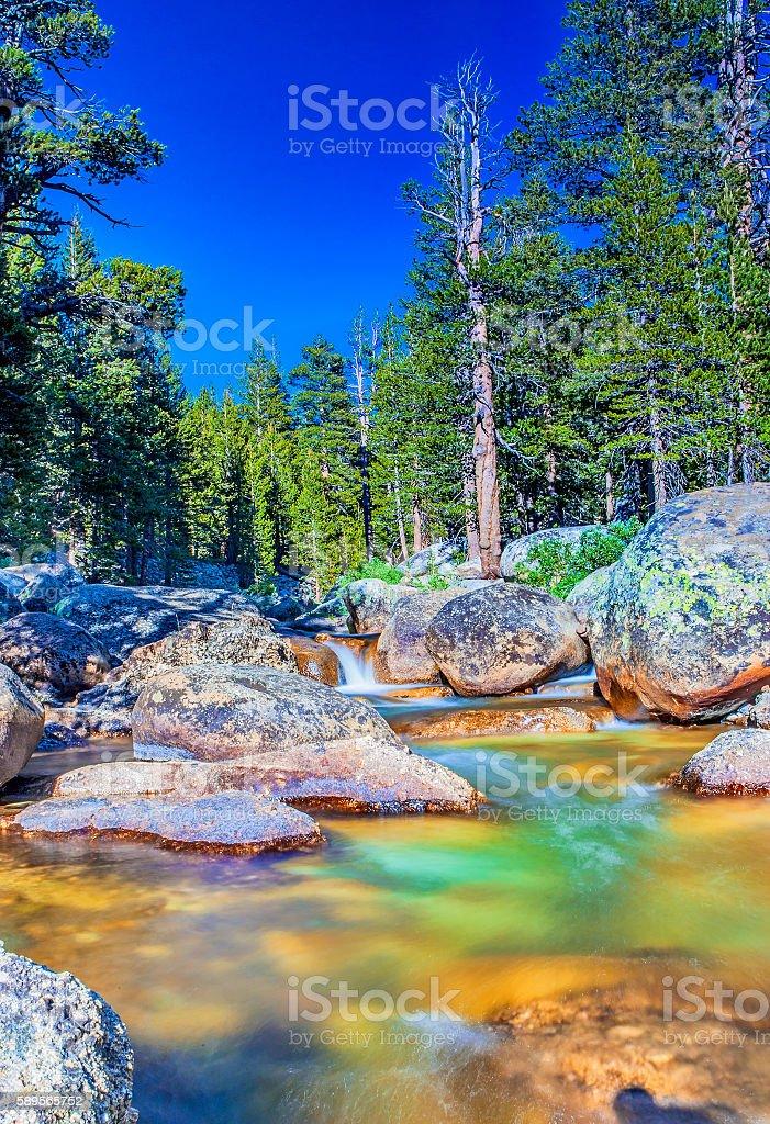 Water Streams Shot in Yosemite National Park stock photo