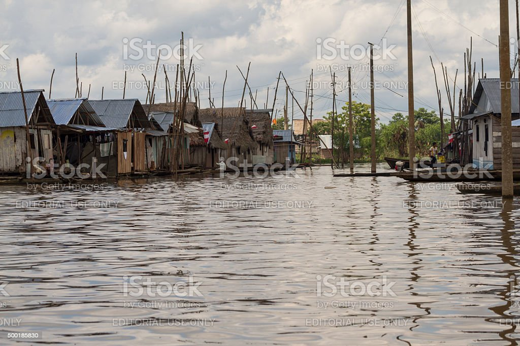Water Street and Floating Houses of Belen, Iquitos stock photo