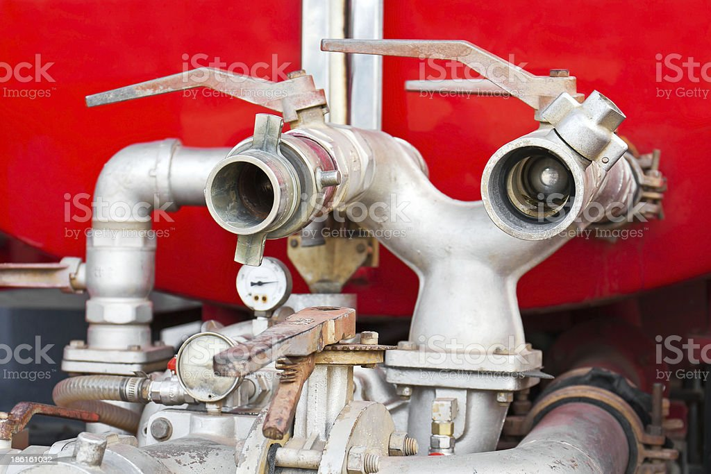 Water supply-pipe of fire truck royalty-free stock photo