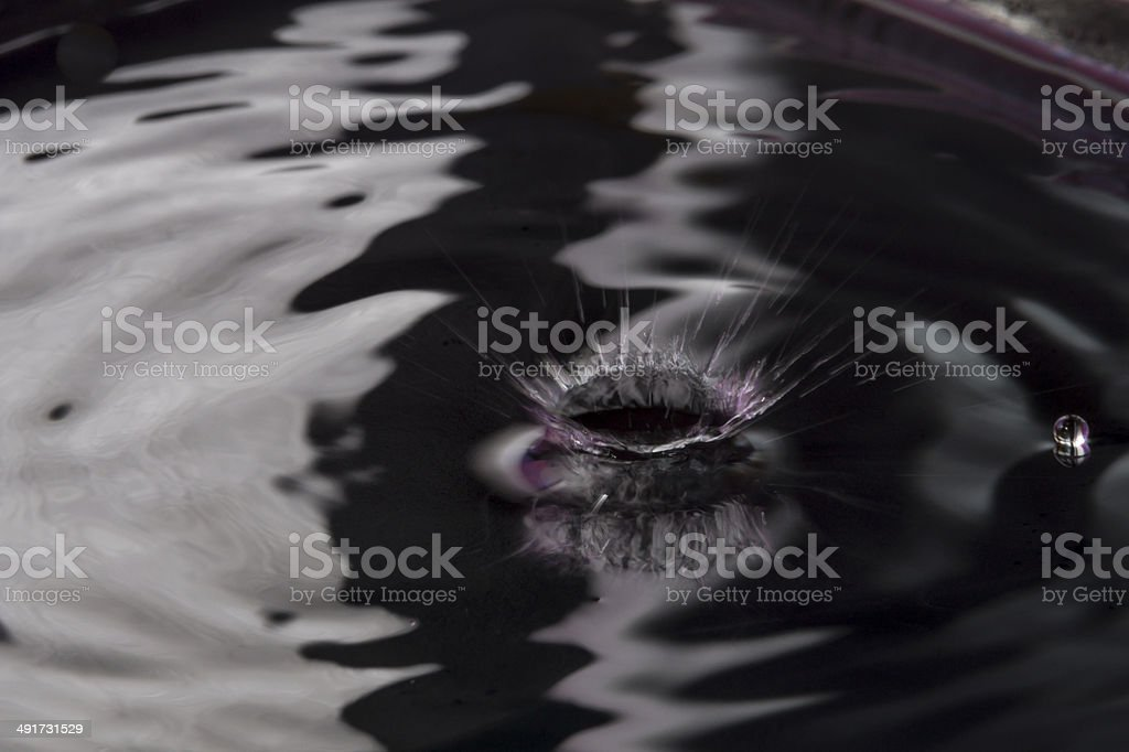 Water surface after collision with drop stock photo
