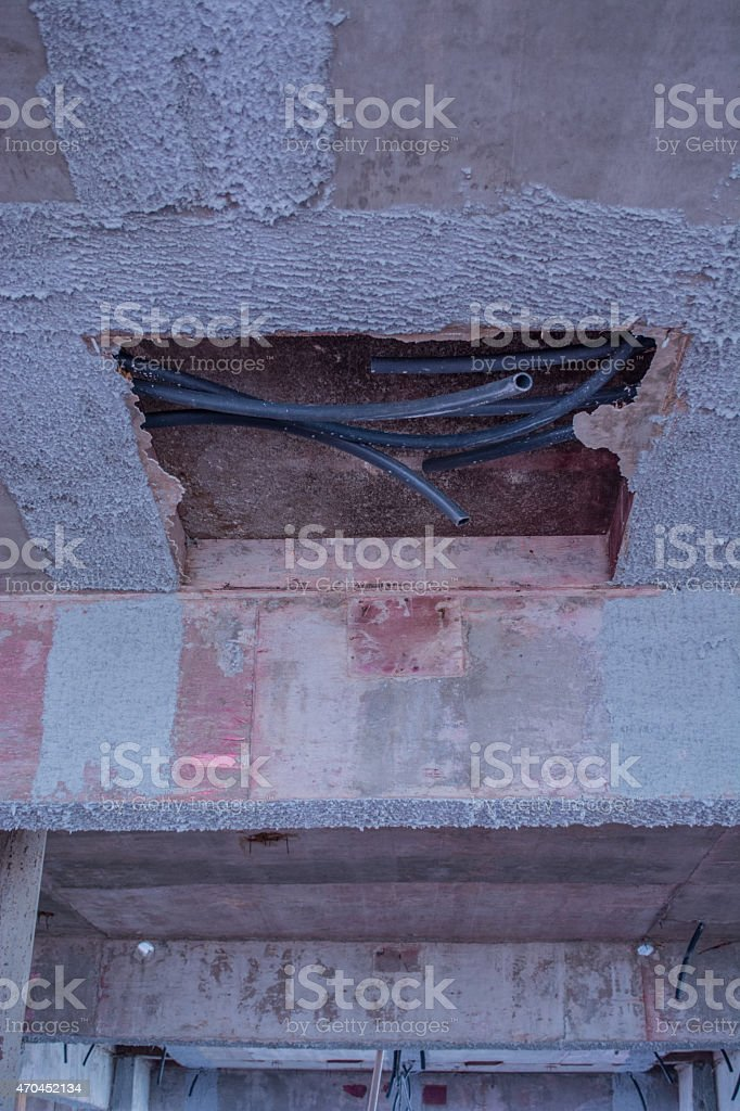 water system on wall in construction sewer, stock photo