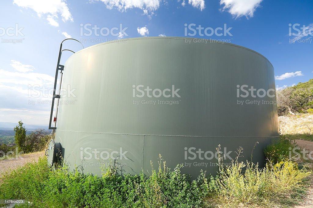 Water Tank, Hillside, Santa Fe, New Mexico, USA, Wide Angle stock photo