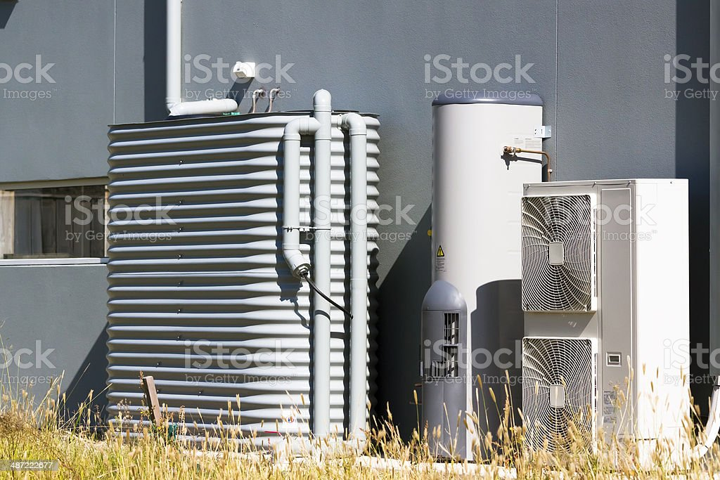 Water tank, hot water system and air-condition stock photo
