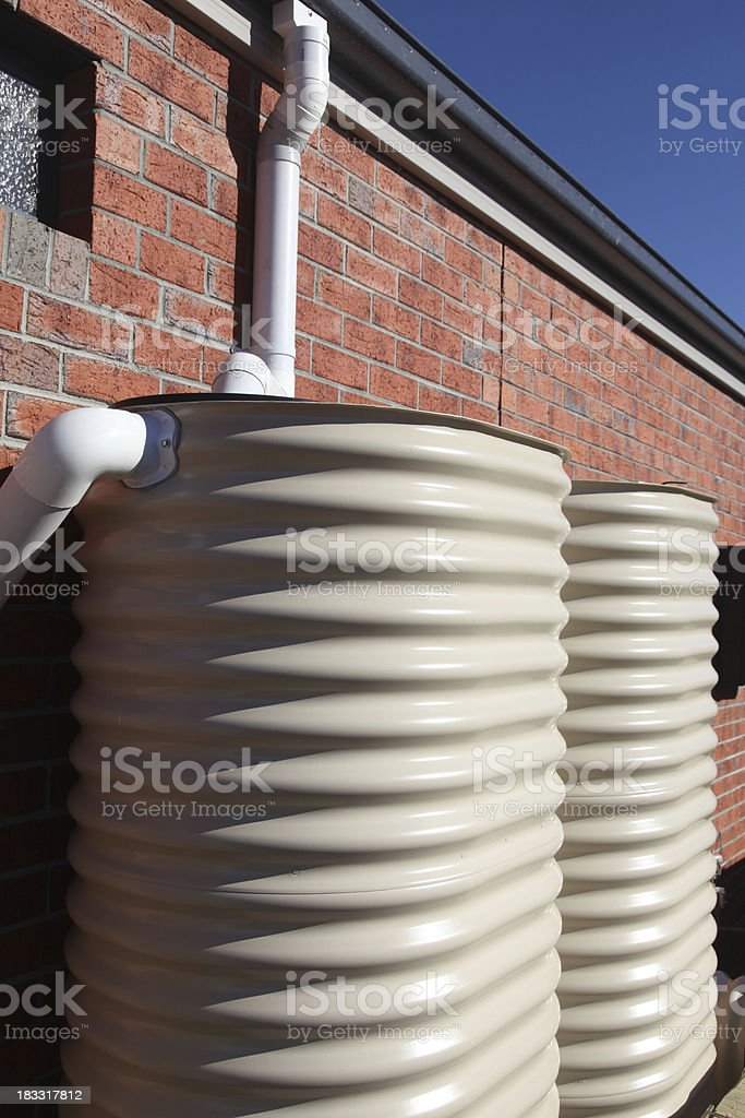 Water tanks on a new home stock photo