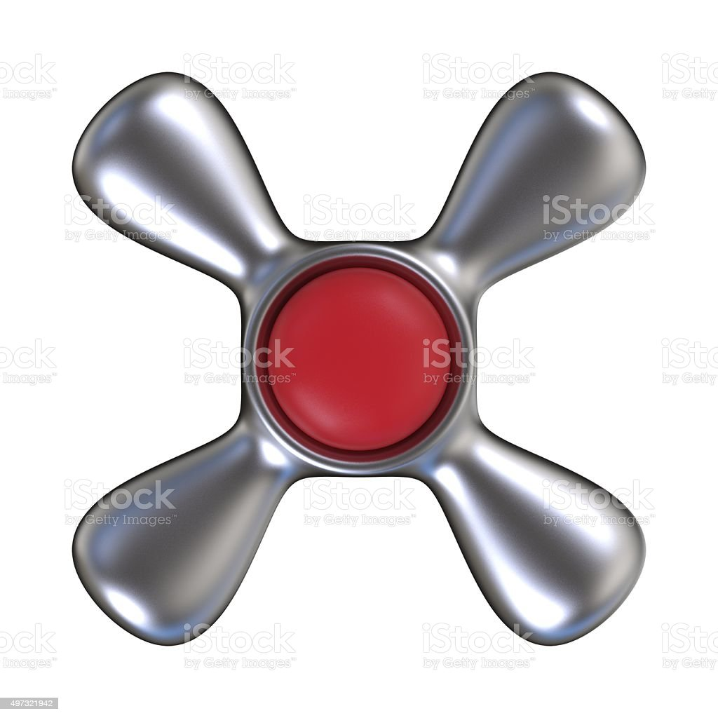 Water tap with red plastic center. Top view. 3D render stock photo