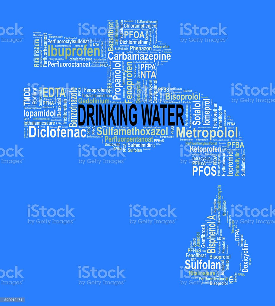 Water tap - Word cloud with micropollutants / trace substances stock photo