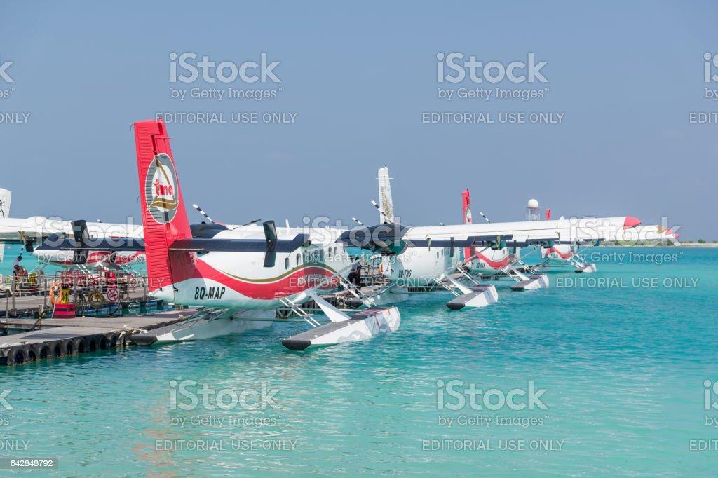 Water Taxi Male Airport Maldives Seaplane stock photo