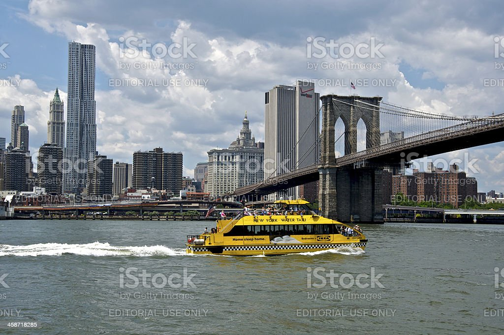 Water Taxi & Manhattan skyline, from Brooklyn Heights, NYC royalty-free stock photo