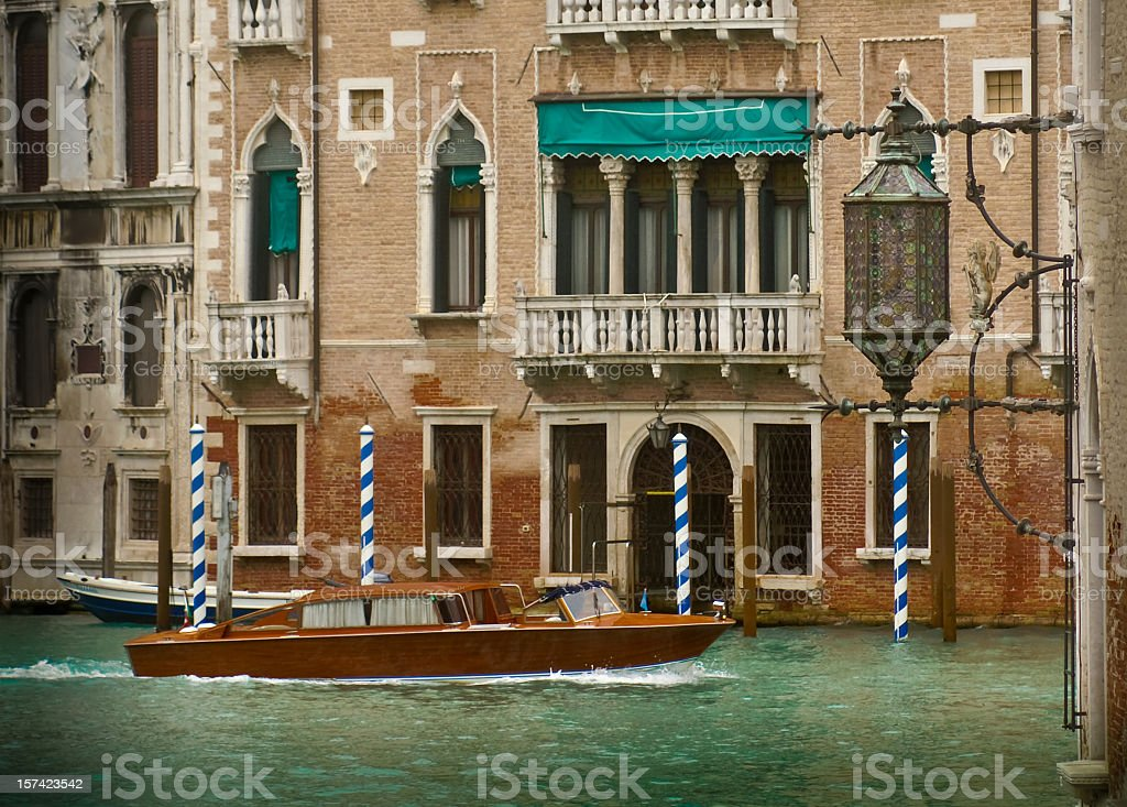 Water Taxi on Grand Canal in Venice, Italy royalty-free stock photo