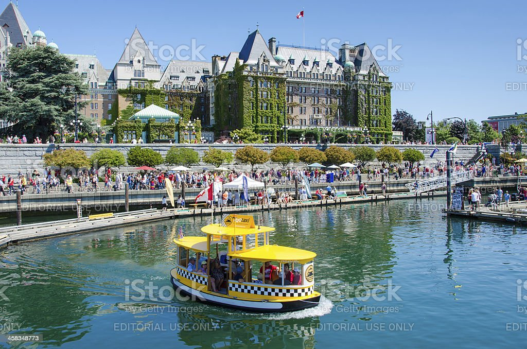 Water taxi provides transportation in the Inner Harbour of Victoria stock photo