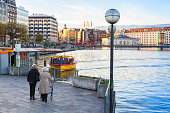 Water taxi stop in Geneva
