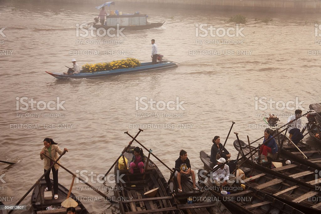 Water Taxis Await Customers at Floating Market stock photo