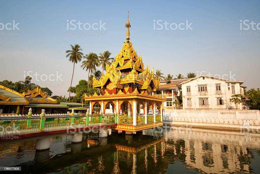 Water temple next to the Swedagon Pagoda, Burma royalty-free stock photo