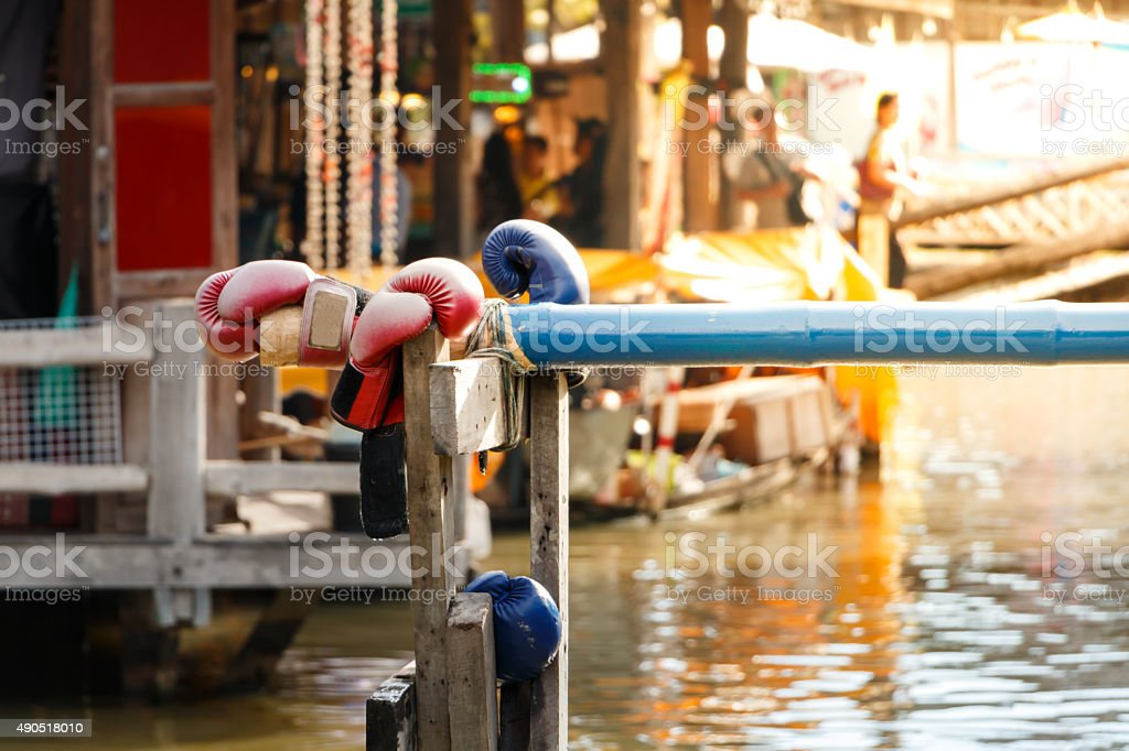 Water Thai boxing or name is Muay Talay, stock photo