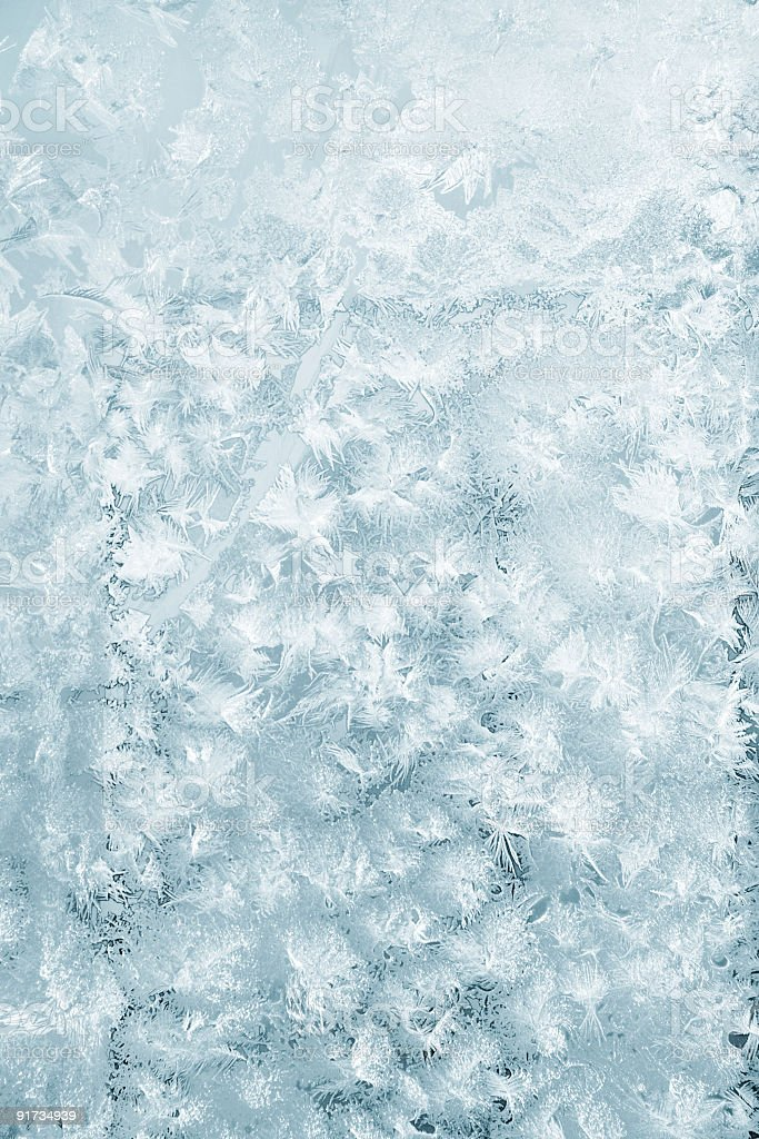 Water that solidified as frost on window stock photo
