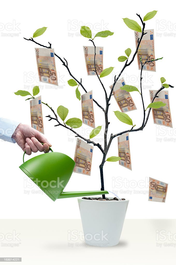 Water the money tree royalty-free stock photo