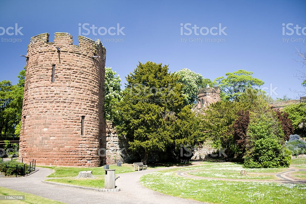 Water Tower and Gardens by The Walls in Chester royalty-free stock photo