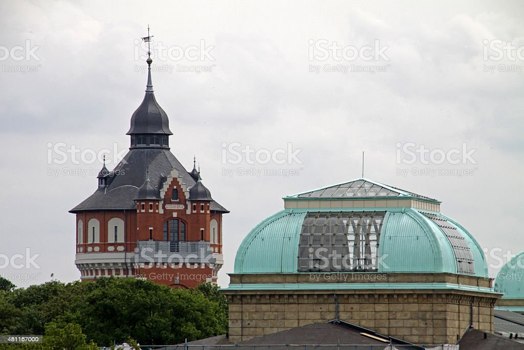 Water Tower and Museum dome Braunschweig stock photo